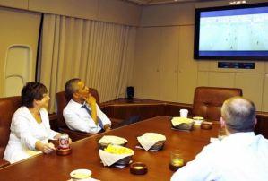 Ni arriba en el aire Obama se pierde el Mundial (Fotos)