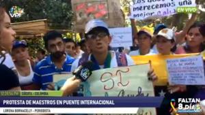 Docentes tachirenses protestan en territorio colombiano para exigir la entrada de ayuda humanitaria