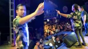 El cantante Ezio Oliva fue sorprendido por el sismo cuando ofrecía un concierto en Rioja (Video)