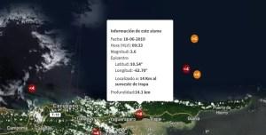 Sismo de magnitud 3.6 al suroeste de Irapa