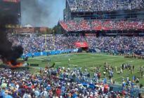Se produjo un fuerte incendio en plena cancha del Nissan Stadium de los Titans (VIDEO)